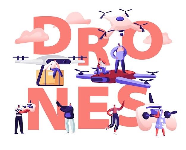 Концепция службы почты drone. мультфильм плоский иллюстрация