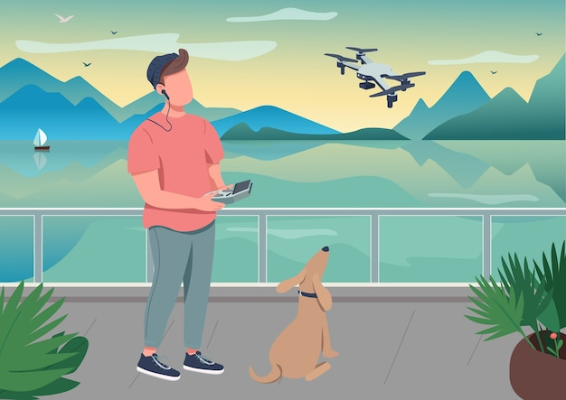 Drone photography flat color illustration