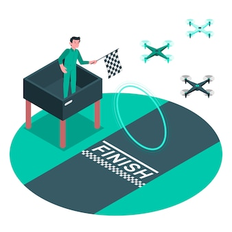 Illustrazione di concetto di gara di drone