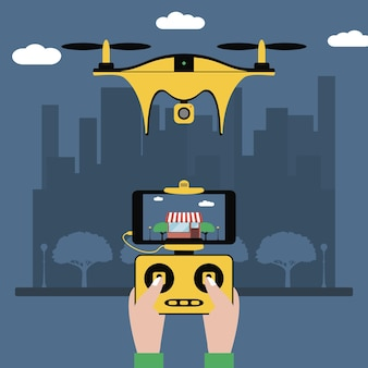 Drone and remote control hands hold a radio controller with screen to quadcopter flying over city