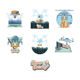 Drone service set icons icon vector ilustration