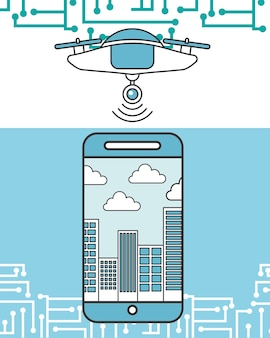 Drone smartphone device city place vector illustration