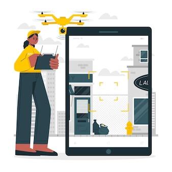Illustrazione del concetto di sorveglianza del drone