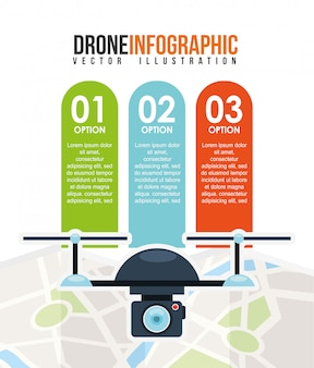 Drone technology infographic template design