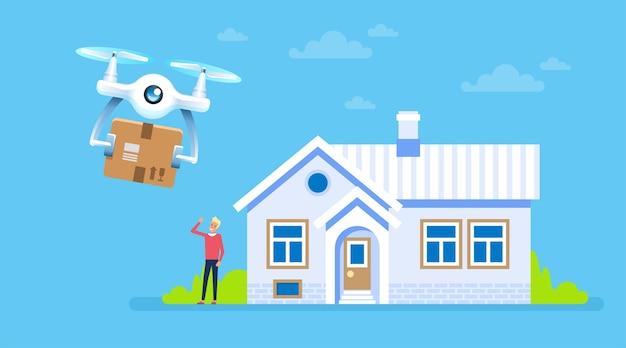 Дрон с пакетом летит к дому со счастливым клиентом