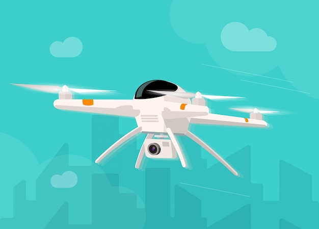 Drone with photo camera flying in the sky  illustration  cartoon