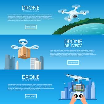 도시를 비행하는 원격 제어와 무인 비행기. quadcopter에 의한 피자 배달. 카메라 촬영 사진 및 비디오 컨셉 일러스트와 함께 공중 무인 항공기