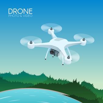 자연 풍경을 통해 비행하는 원격 제어와 무인 비행기. 카메라 촬영 사진 및 비디오 컨셉 일러스트와 함께 공중 무인 항공기