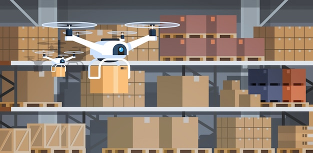 Drone working modern warehouse interior advanced robotics technology concept fast delivery artificial intelligence flat horizontal