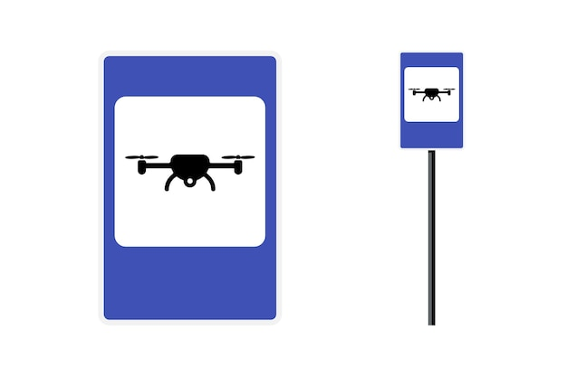 Drone zone blue rectangular roadsign for quad copter city transport vector unmanned flight vehicle
