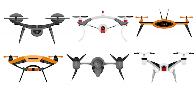 Drones. air drones hovering. aerial vehicle. unmanned aircrafts. set of modern air gadjet, quadrocopters on remote control. flat cartoon style of aircrafts camera