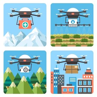 Применение дронов в различных областях в плоском дизайне