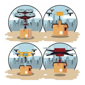 Drones delivering box