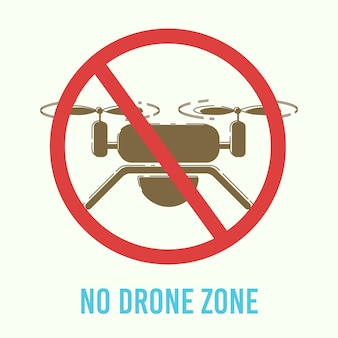 Drones flights ban warning sign flat