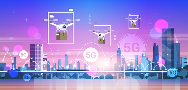 Drones flying over city 5g online communication network wireless systems connection express delivery concept