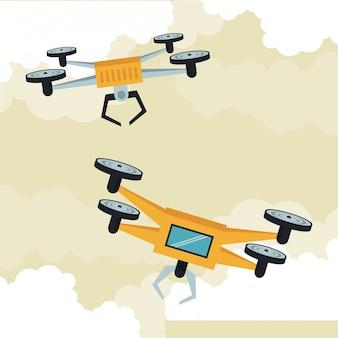 Drones flying in the sky