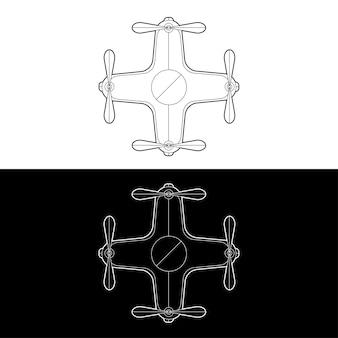 ドローンアイコンセット。グラフィックドローン黒と白のアウトラインアウトラインストロークイラスト