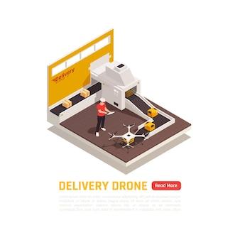 소포 상자의 자동 컨베이어가있는 드론 quadrocopters 아이소 메트릭 배너