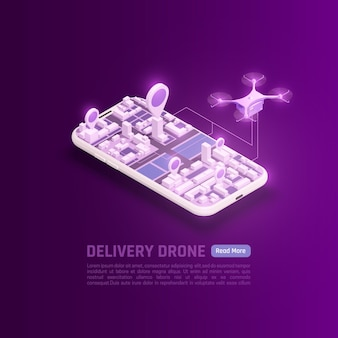 ドローンクワッドコプターシティブロックと編集可能なテキストを備えたクワッドコプターとスマートフォンの等角図
