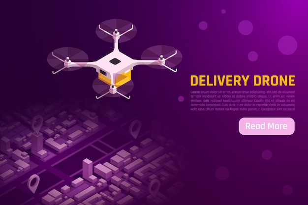 Drones quadrocopters isometric illustration with quadcopter flying above city  web banner template