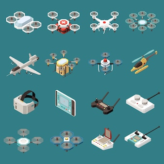 Drones quadrocopters isometric set of sixteen isolated objects with images of aircrafts and remote control units