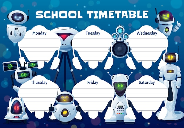 Drones, robots and androids school timetable vector template. weekly planner frame design with artificial intelligence cyborgs, cute ai bots. educational cartoon schedule, kids time table for lessons