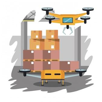 Drones in warehouse cartoon