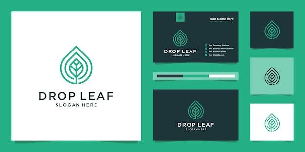 線形とドロップと葉のロゴ。ロゴと名刺