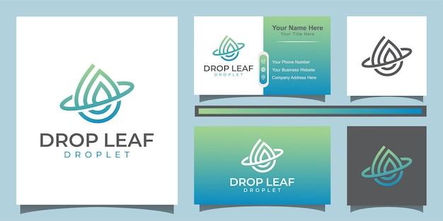 ドロップと水のベクトルのロゴ。ラインアートスタイルのロゴと名刺とエレガントな葉と油のロゴのデザイン