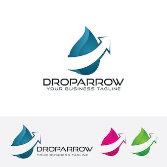 Drop arrow vector logo template