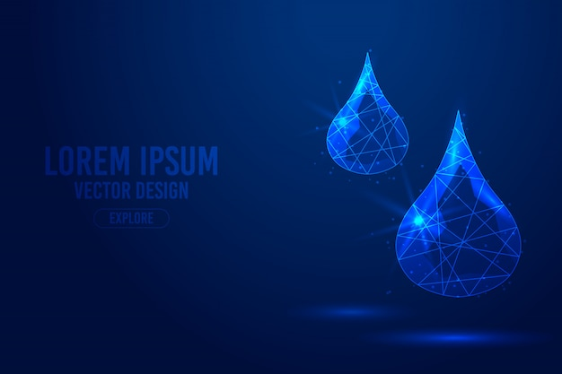 Drop of blood, water, oil, liquid geometric lines, low poly style wireframe vector template. isolated medicine science technology concept blue background polygonal.