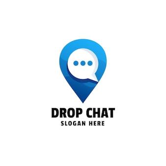 Drop chat gradient logo template