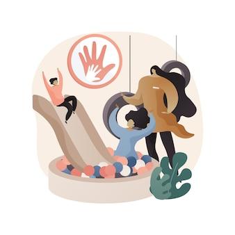 Illustrazione di concetto astratto di assistenza all'infanzia drop-in
