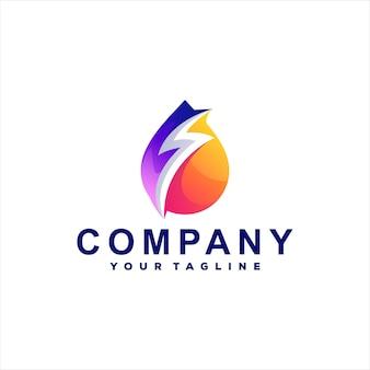 Дизайн логотипа градиента цвета капли Premium векторы