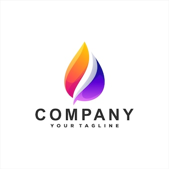 ドロップカラーグラデーションのロゴデザイン
