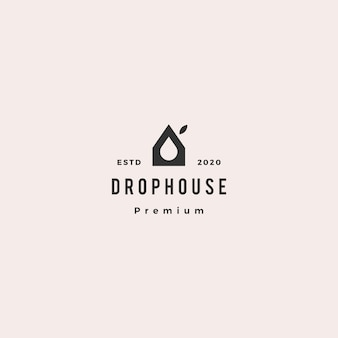 Drop eco house logo hipster retro vintage icon
