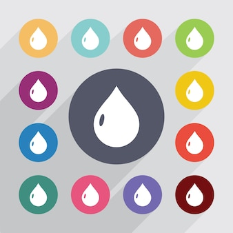 Drop, flat icons set. round colourful buttons. vector