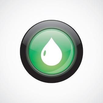 ガラスサインアイコン緑色の光沢のあるボタンをドロップします。 uiウェブサイトボタン