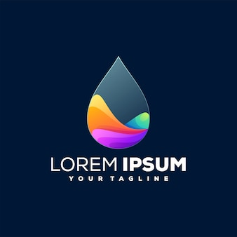 Drop gradient color logo design