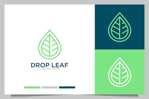 ドロップリーフラインアートシンプルなロゴデザイン