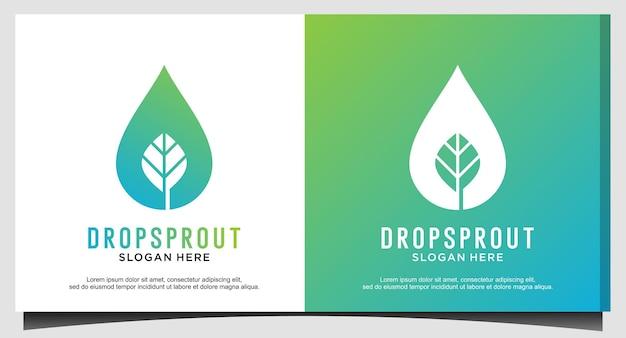 Drop leaf sprout logo design