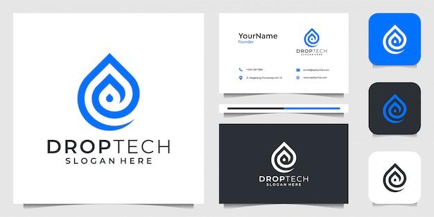 テクノロジーラインアートスタイルにロゴをドロップします。ブランディング、ビジネス、広告、シンボル、液体、アクア、名刺に最適