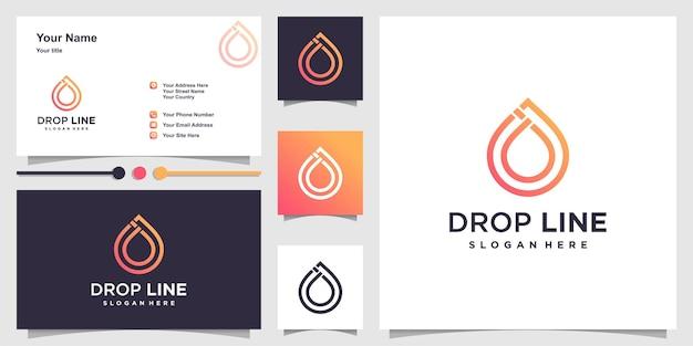 Drop logo with unique line art style and business card design premium vector