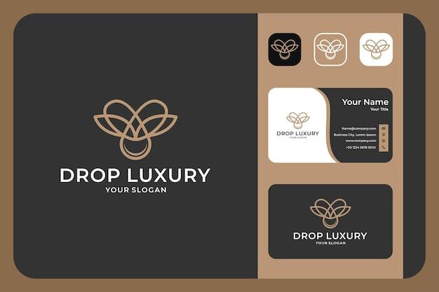 Drop luxury line art logo design and business card