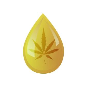 孤立した背景に葉大麻と油をドロップします。ロゴ大麻油。