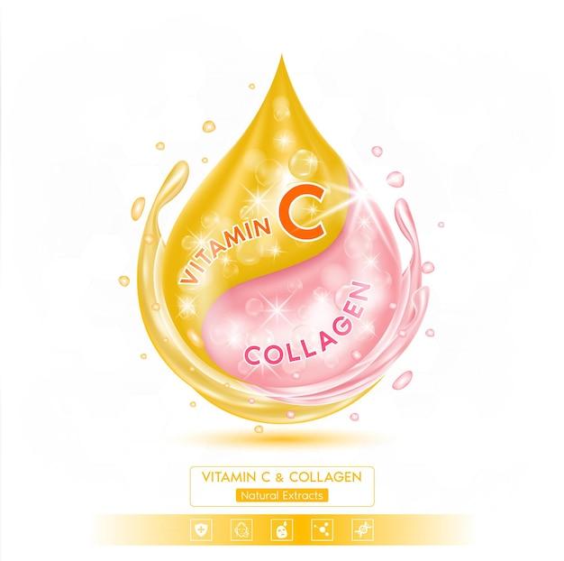 Капля розового раствора коллагена сыворотка и оранжевый витамин с
