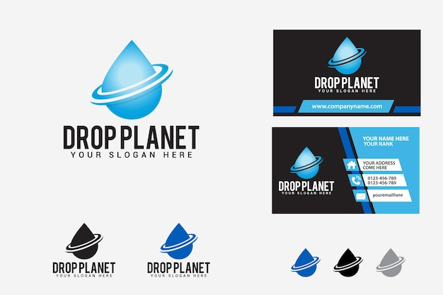 Drop planet logo design template