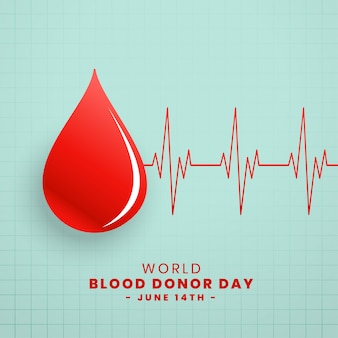 Drop of red blood donor day concept background