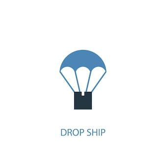 Drop ship concept 2 colored icon. simple blue element illustration. drop ship concept symbol design. can be used for web and mobile ui/ux