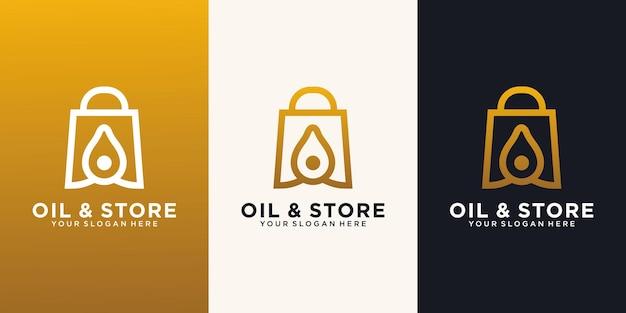 Drop shopping bag logo design template